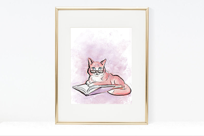 Philosophical Cat Illustration | Pawsitive Wishes Collection |  5x7, 8x10, 11x14