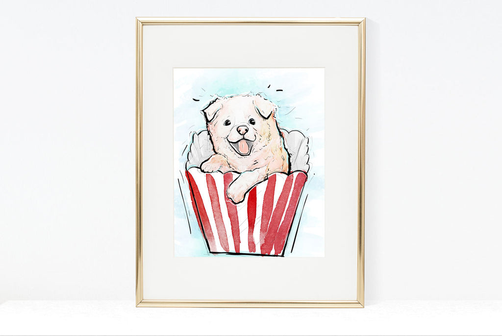 Pup Corn, Dog Illustration | Pawsitive Wishes Collection | 5x7, 8x10, 11x14