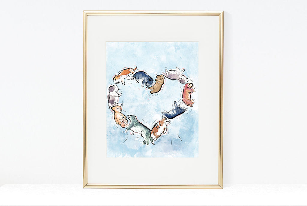 Puppy Heart, Dog Illustration | Pawsitive Wishes Collection | 5x7, 8x10, 11x14