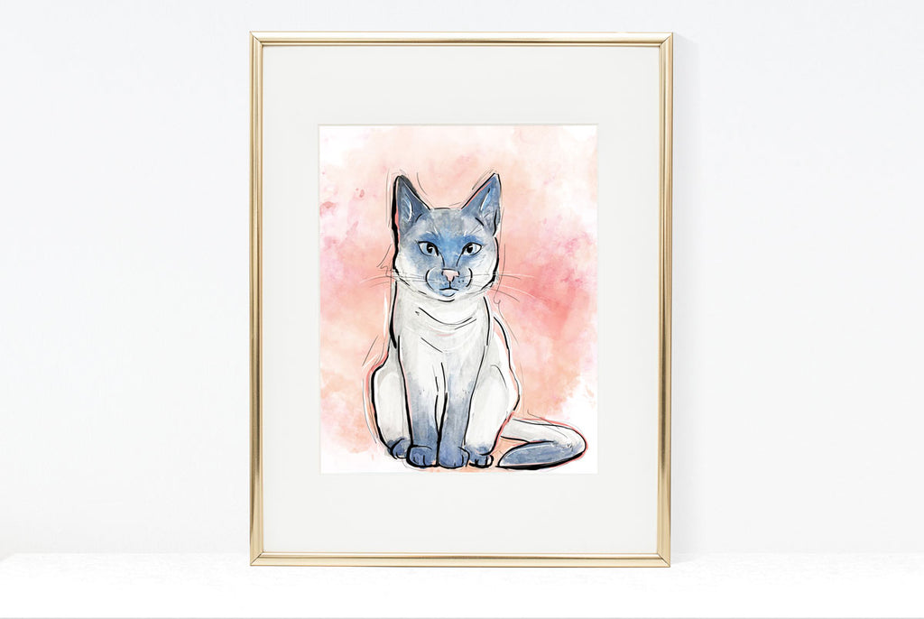 Serious Cat Illustration | Pawsitive Wishes Collection | 5x7, 8x10, 11x14