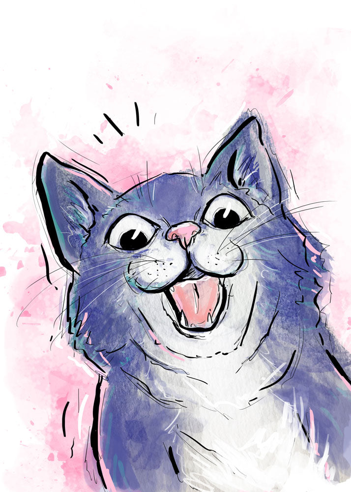 Surprised Cat Illustration | Pawsitive Wishes Collection | 5x7, 8x10, 11x14