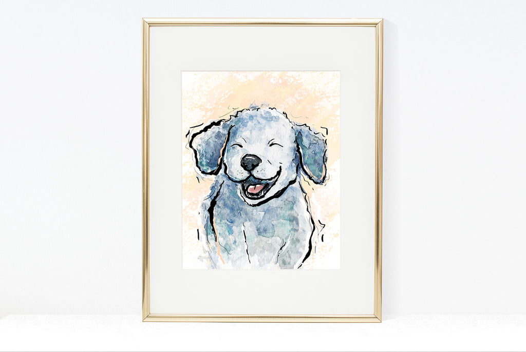 Smiling Dog Illustration | Pawsitive Wishes Collection | 5x7, 8x10, 11x14