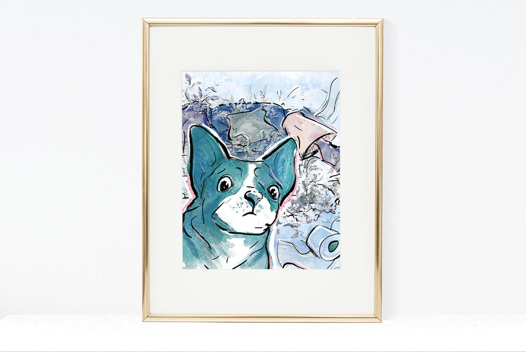 The Cat Did It, Dog Illustration | Pawsitive Wishes Collection | 5x7, 8x10, 11x14