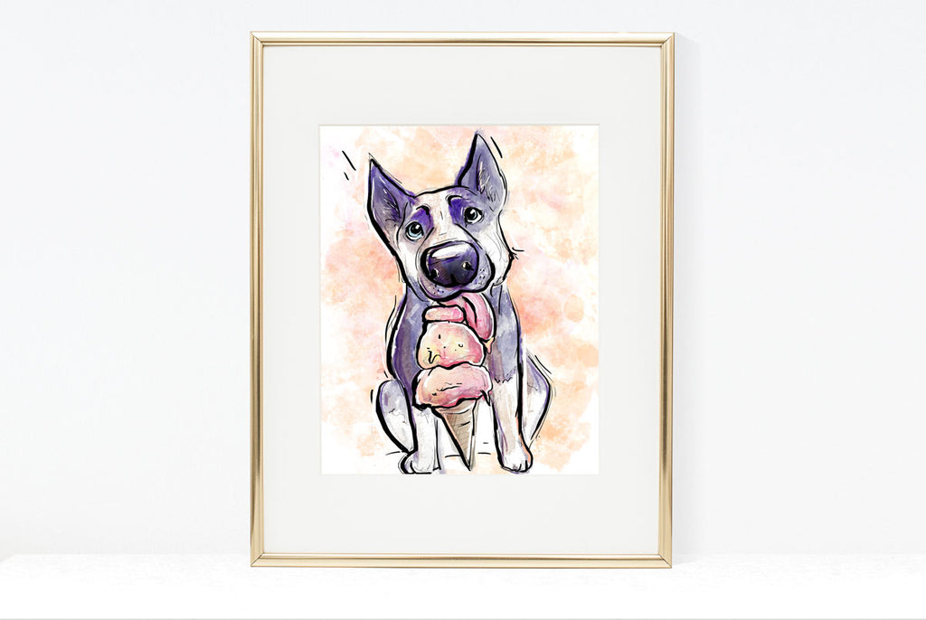 Treat Yo Self, Dog Illustration | Pawsitive Wishes Collection | 5x7, 8x10, 11x14