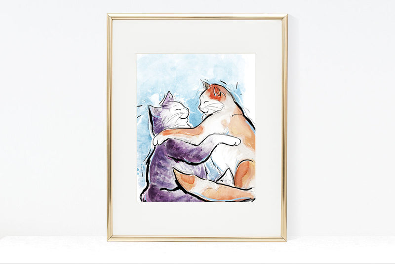Cat Snuggles Illustration | Pawsitive Wishes Collection | 5x7, 8x10, 11x14