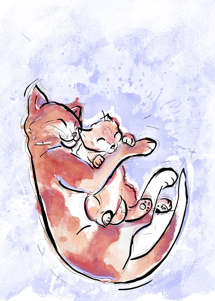 Kitten Snuggles, Cat Illustration | Pawsitive Wishes Collection | 5x7, 8x10, 11x14