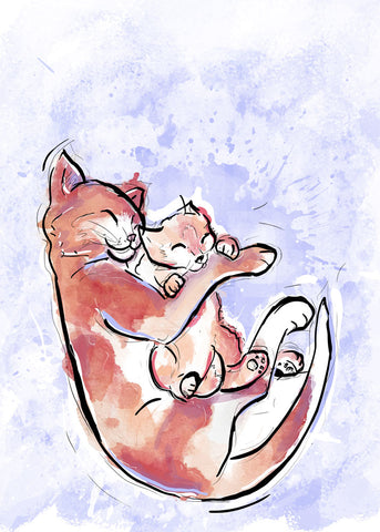 Group Hug, Dog & Cat Illustration | Pawsitive Wishes Collection | 5x7, 8x10, 11x14