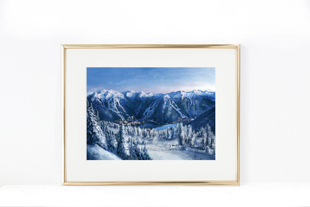 Snowy Whistler Village Illustration  | Mountain Art | 5x7, 8x10, 11x14