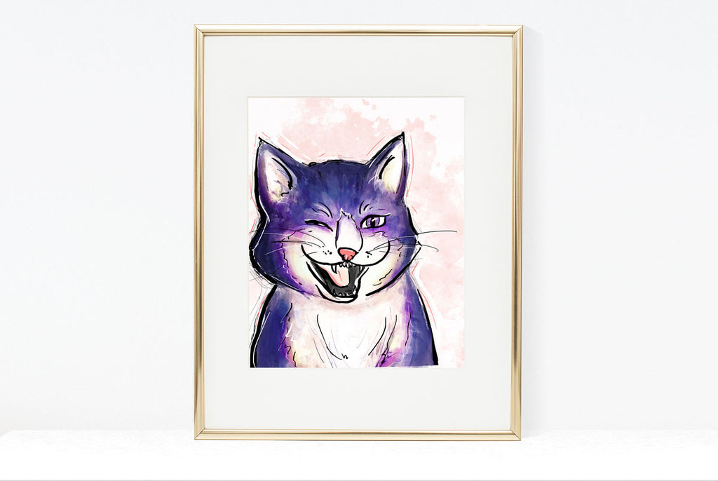 Winking Cat Illustration | Pawsitive Wishes Collection | 5x7, 8x10, 11x14