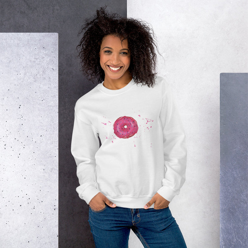 Pink Donut Sweatshirt | Doughnut Artwork on Swaetshirt | Multiple Colours