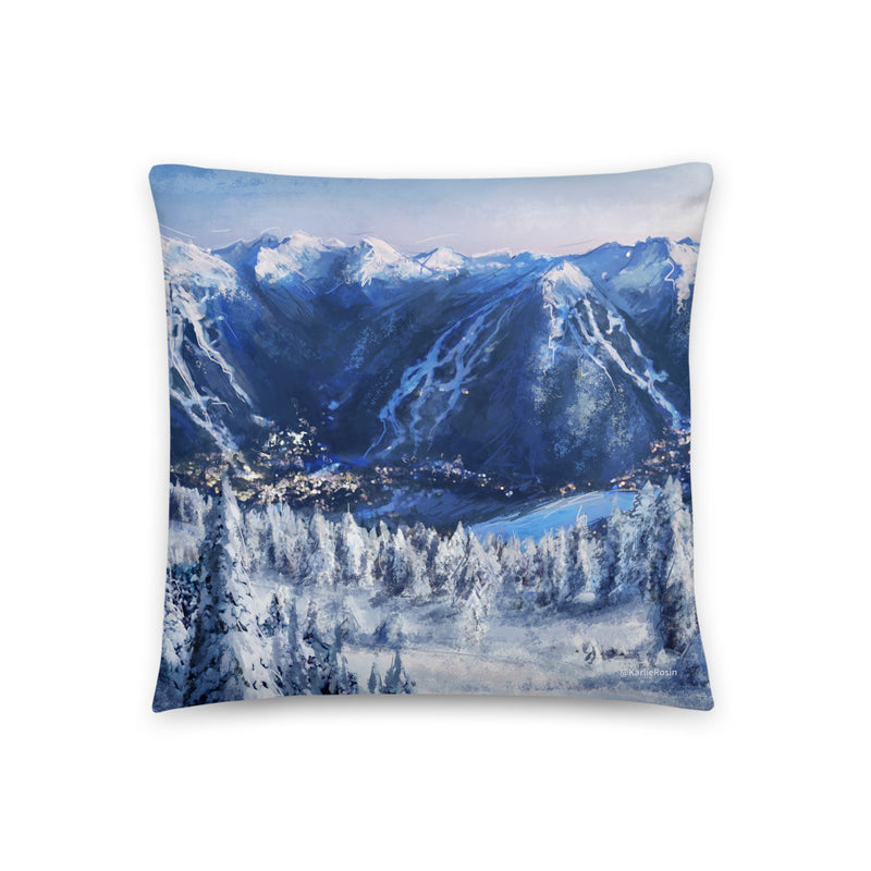 Winter Whistler Village Throw Pillow