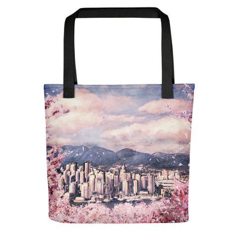 Winter Whistler Village Tote Bag | British Columbia Artwork Tote Bag | Pacific Northwest Bag Design