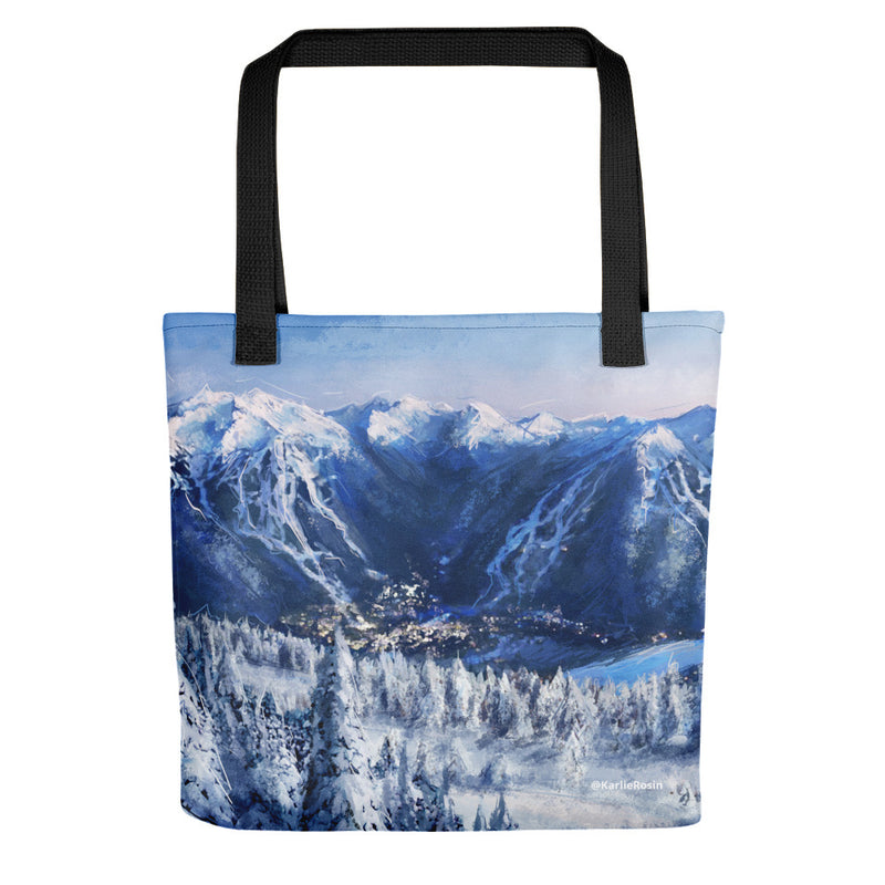 Winter Whistler Village Tote Bag | British Columbia Artwork Tote Bag