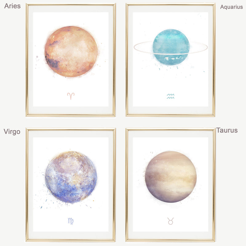 Aquarius Zodiac Sign | Zodiac Art Print Collection | Astrology Aquarius Art Wall Decor | 8x10, 11x14