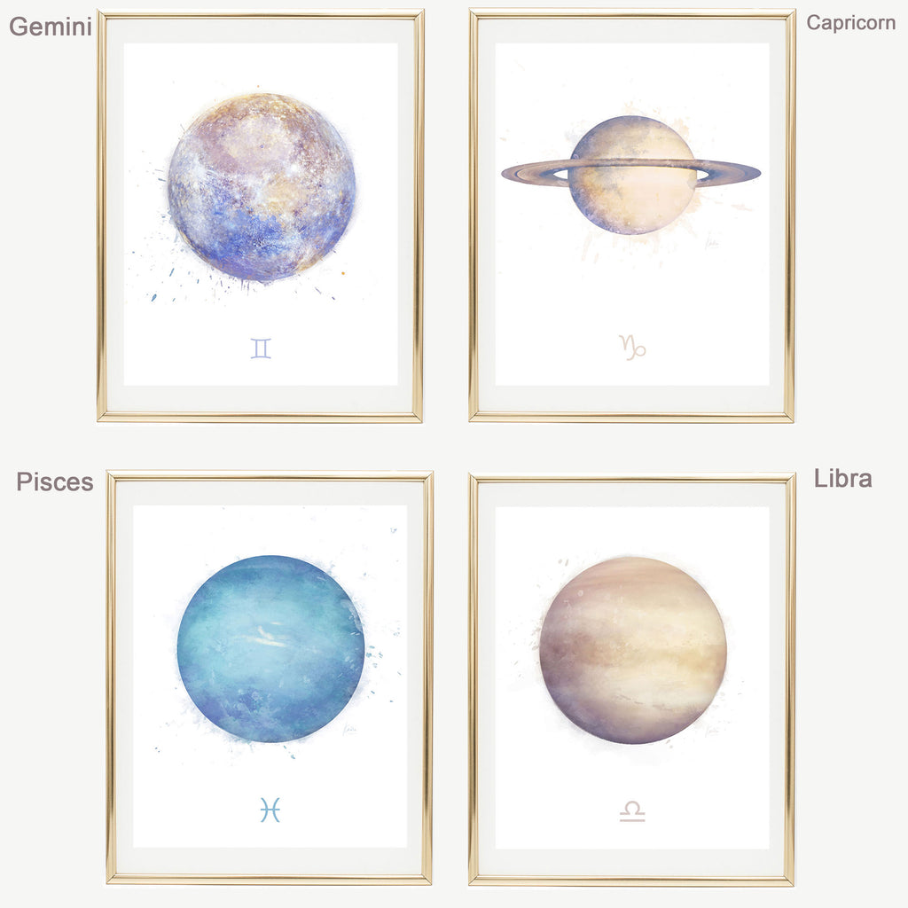 Cancer Zodiac Sign | Zodiac Art Print Collection | Astrology Cancer Art Wall Decor | 8x10, 11x14