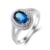 Oval Cut Blue Topaz Ring