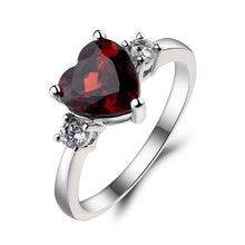 Load image into Gallery viewer, Red Garnet Silver Ring