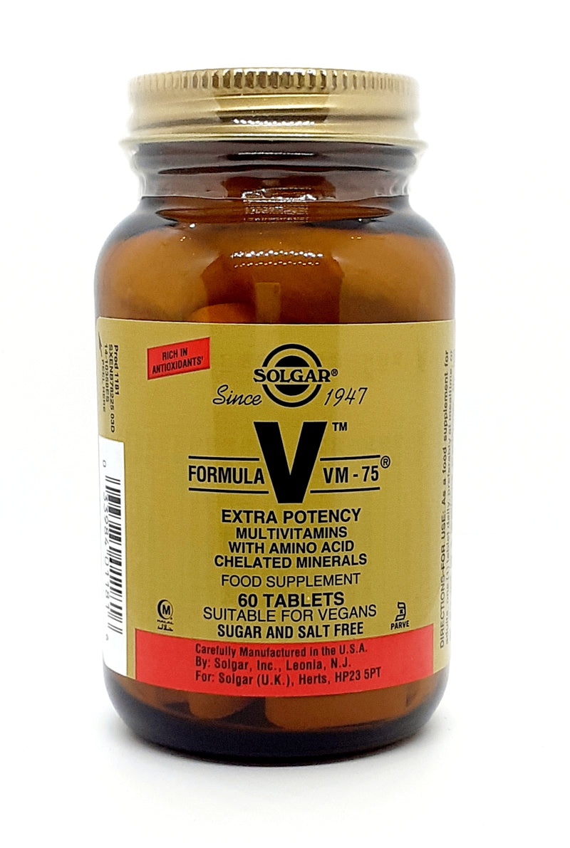 Solgar formula V vm-75 extra potency multivitamins with amnio acid and chelated minerals 60 tablets