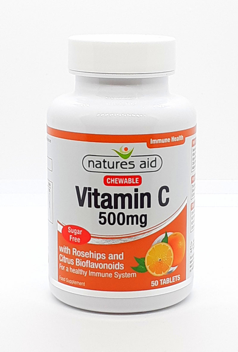 Natures aid Vitamin C with rosehips and citrus bioflavonoids 500mg 50 tablets