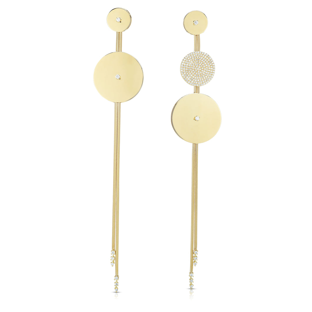 Gold Disk Dangle Earrings