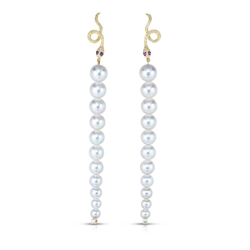 Diamond Snake Pearl Drop Earrings