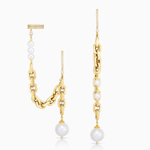Pearl Asymmetric Ear Cuff Earrings