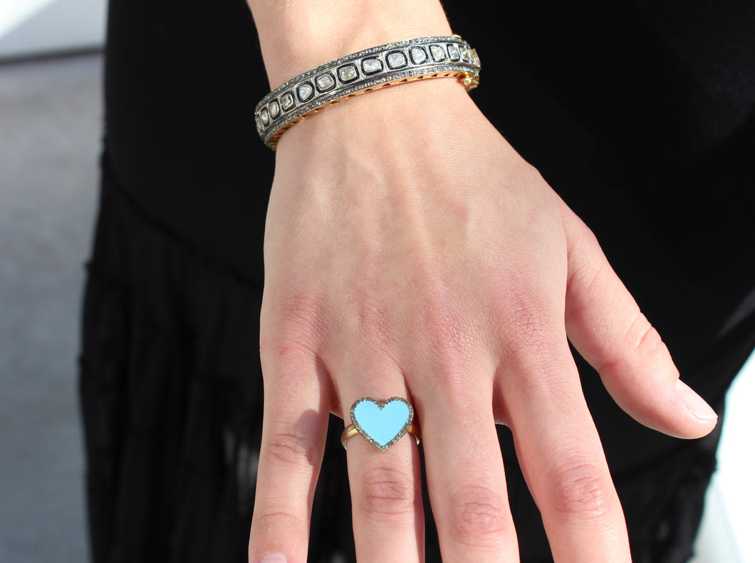 Turquoise enamel heart ring with pave diamond edge Size 7  Sourced from India