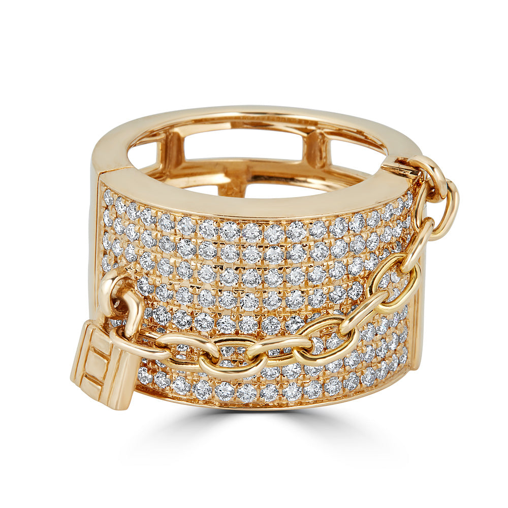 Lock & Chain Diamond Ring Band
