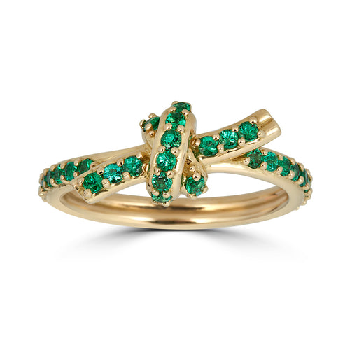 Pave Emerald Knot Ring