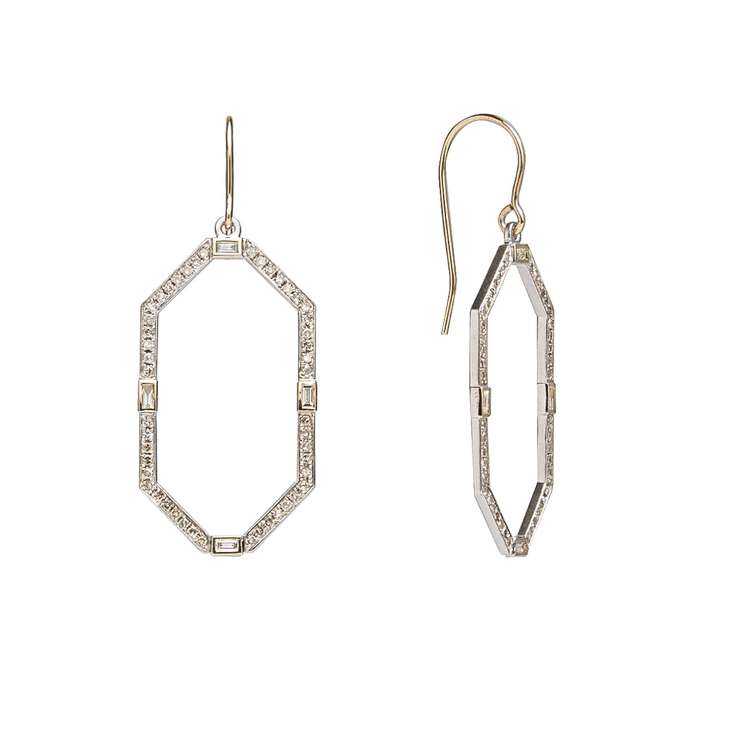 The Caroline earring features a single row of diamond pavé set in sterling silver open frames accented with four bezel-set baguette diamonds, all hanging from a 14K yellow gold french wire.   Available with baguette diamonds bezel-set in sterling silver, 14K yellow gold, or 14K black gold  Satin finish frames with polished ear wires  Total diamond carat weight: 0.76 ct  Made in USA