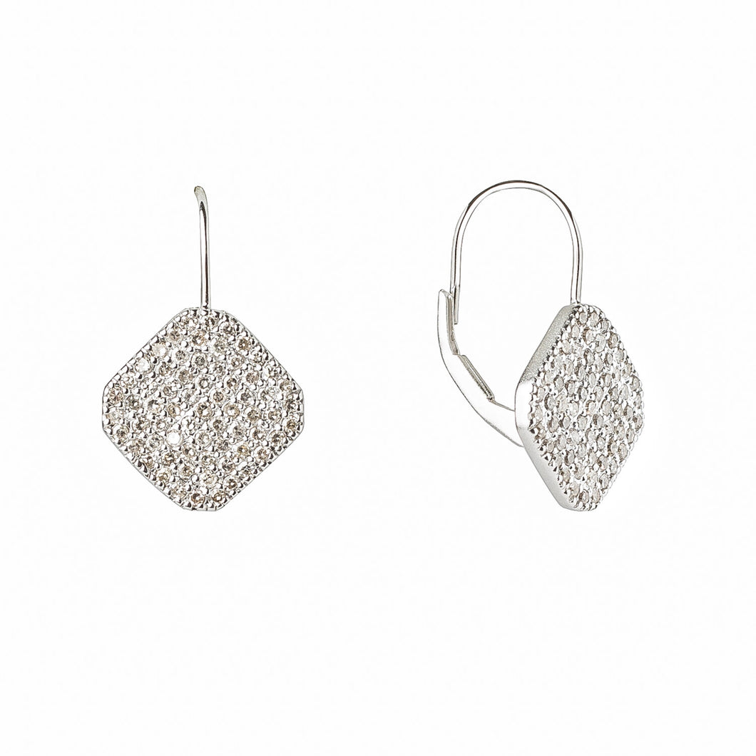 The Isabella earrings feature our signature chamfered square shape in sterling silver covered in diamond pavé hanging from a 14K white gold ear wire and lever back enclosure.  Satin finsh  Made in USA