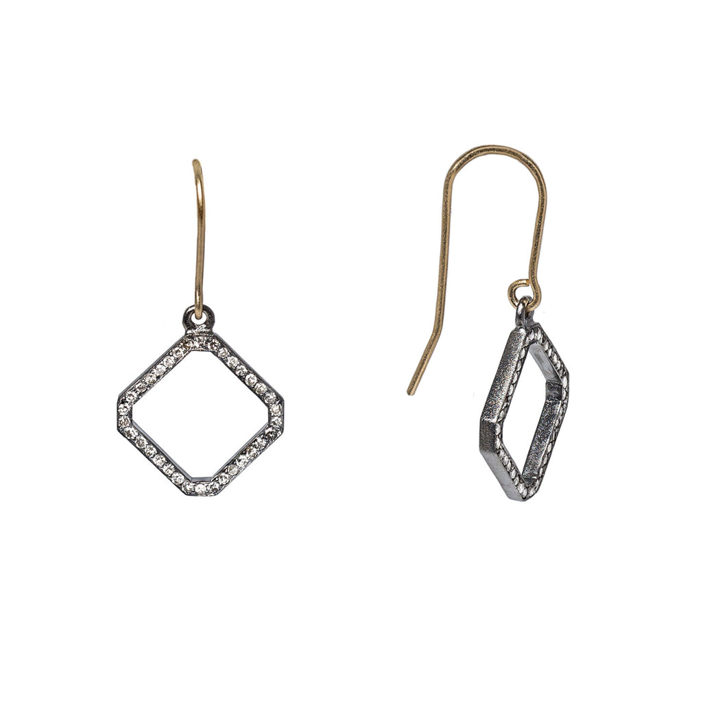 An open chamfered square in sterling silver lined with a single row of diamond pavé hang from a french wire in 14K yellow gold.  Chamfered square dimensions: 15 mm x 15 mm  Made in USA