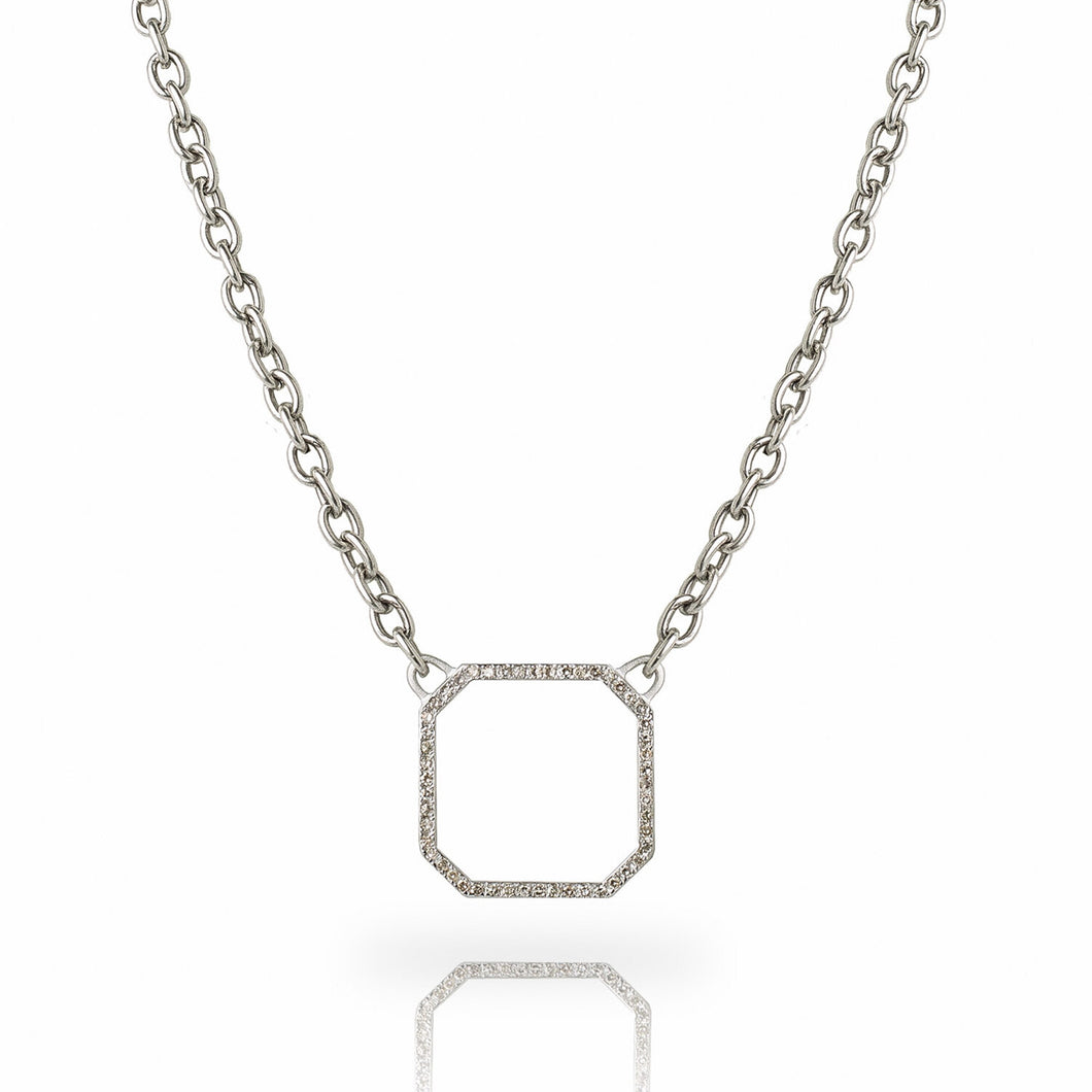 A single row of diamond pavé set in sterling silver forms the outline of this elegantly simple chamfered-square pendant; hanging from our exclusive steel chain.  Adjustable length between 16 and 18 inches  Includes a Liza Beth signature satin finish clasp and extender  Total diamond carat weight is 0.45 ct  Made in USA