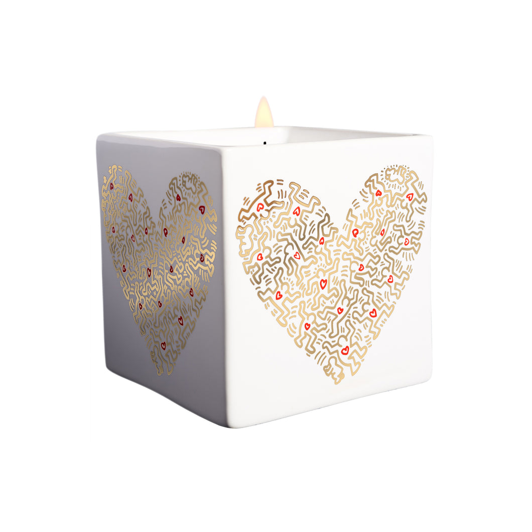 Gold Pattern Heart Candle