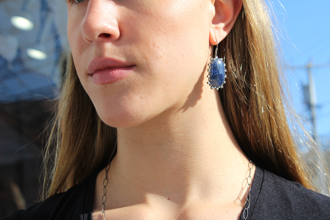 Sapphire and baguette diamond earrings Sourced from India
