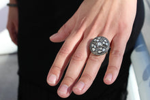 Load image into Gallery viewer, Rose cut and pave diamond cross ring Sourced from India