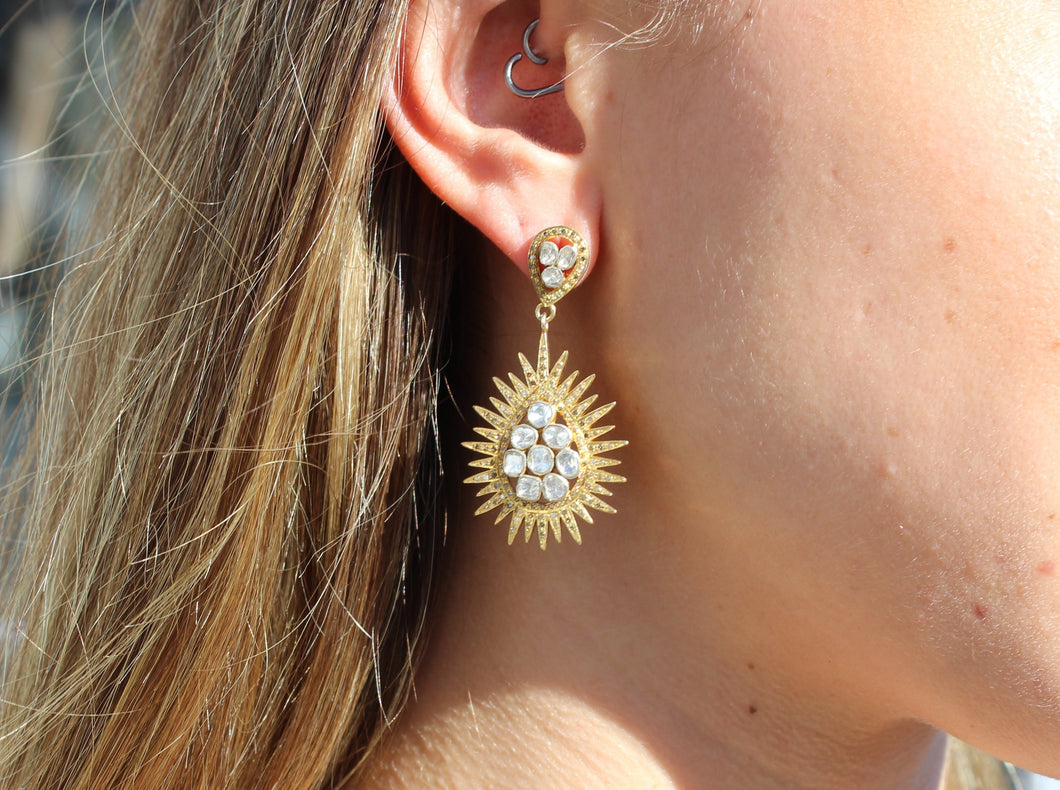Gold and rose cut diamond tear drop with spiked edge earrings Sourced in India