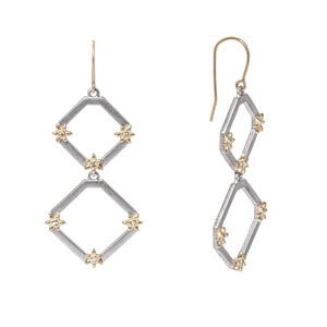 These double drop earrings composed of two graduated sterling silver chamfered square frames are accented with 14k yellow gold flowers each with a single round diamond in the center, all hanging from 14k yellow gold french wires.   Total diamond carat weight: 0.21 ct.  Made in USA
