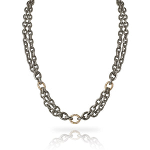 A trio of diamond pavé links are interspersed between a double-strand of our exclusive textured and oxidized chain in this casual and contemporary chain link necklace.  Diamond pavé link is available in 14k yellow gold, 14k rose gold, or sterling silver  Adjustable length between 16 to 18 inches  Includes a Liza Beth signature satin finish clasp and extender  Made in USA