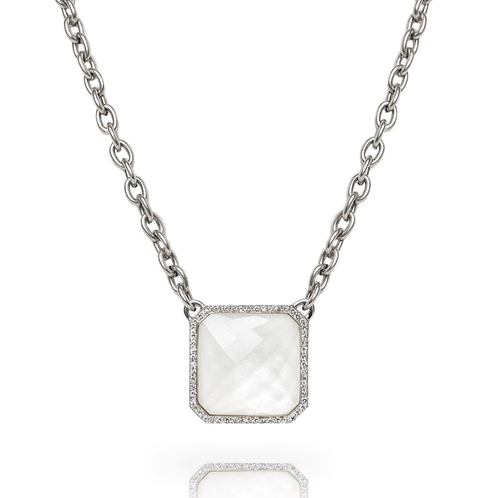 A chamfered square doublet of mother-of-pearl and faceted white topaz is surrounded by a single row of diamond pavé set in sterling silver and hanging from our exclusive steel chain.  Includes a Liza Beth signature satin finish clasp and extender  Adjustable length between 17 and 19 inches  Total diamond carat weight: 0.31 ct  Made in USA