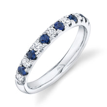 Load image into Gallery viewer, 0.30CT DIAMOND & 0.30CT BLUE SAPPHIRE BAND