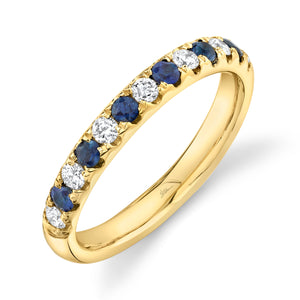 0.30CT DIAMOND & 0.30CT BLUE SAPPHIRE BAND
