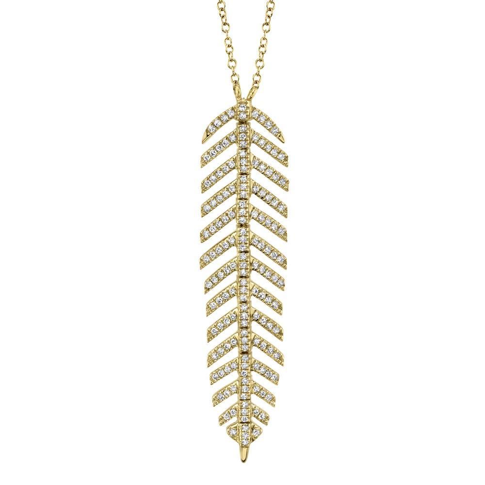 0.29CT DIAMOND 'PHOENIX' FEATHER PENDANT NECKLACE     The ultra unique 'Phoenix' feather pendant necklace highlights Shy Creation's commitment to impeccable design and craftsmanship. Delicately hinged, the 'Phoenix' motif curves and caresses like silk - a must-have for every jewelry collection.  EDITOR'S NOTES:  14K Yellow Gold Lobster Clasp Closure 0.29 Carat Weight Available in: Yellow, Rose, and White