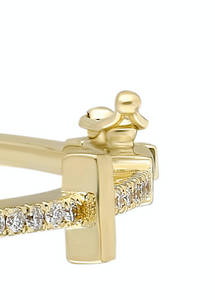 14K Yellow gold bangle with double clasp White diamond: .54CT  White diamond baguette: .19CT  White diamond trillion: .23CT  Made in Turkey