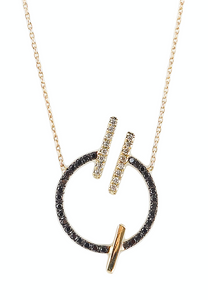14K Yellow gold circle necklace  Black diamond: .30CT  White diamond: .11CT  Made in Turkey