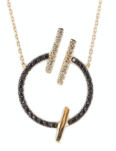 Load image into Gallery viewer, 14K Yellow gold circle necklace  Black diamond: .30CT  White diamond: .11CT  Made in Turkey