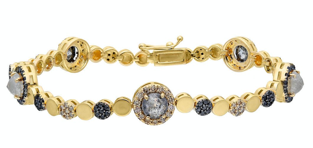 14K Yellow gold bracelet with double clasp Rose-cut grey diamond: 3.00CT  Champagne diamond: .97CT  Black diamond: .78CT  Made in Turkey