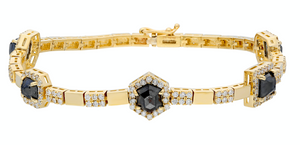 14K Yellow gold bracelet with double clasp  Rose-cut black diamonds: 3.91CT  White diamond: 1.70CT  Made in Turkey