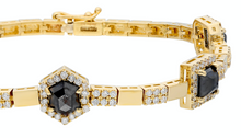 Load image into Gallery viewer, 14K Yellow gold bracelet with double clasp  Rose-cut black diamonds: 3.91CT  White diamond: 1.70CT  Made in Turkey