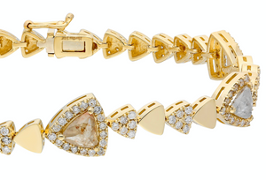 14K Yellow gold bracelet with double clasp Rose-cut opaque diamonds: 1.68CT  White diamond: 1.49CT  Made in Turkey